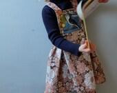 Retro girls dress upcycled little girls dress bird pocket 4T 5T 6T vintage pillowcase toddler girls dress girl flower dungarees dress 70s