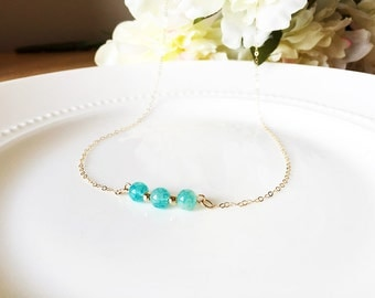 Turquoise Bar Necklace with Gold Beads-Gold Filled Chain-Beautiful Turquoise Glass Jewelry-Select Your Length-With Gift Box