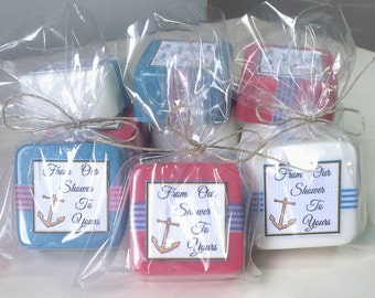 24 nautical baby shower decoration - boy baby shower favors - Anchor shower favors - customize your colors