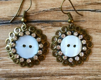 White Shabby Chic Earrings, Cottage Chic Earrings, Dangles, Wholesale, Boutique Earrings, Round Earrings, White Earrings - Button Earrings