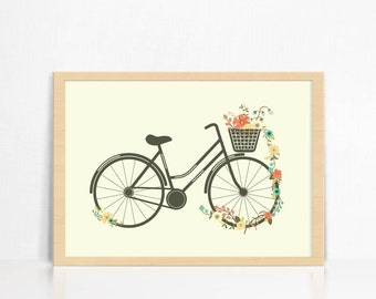 Vintage Floral Bicycle | Wall Print | Home Decor