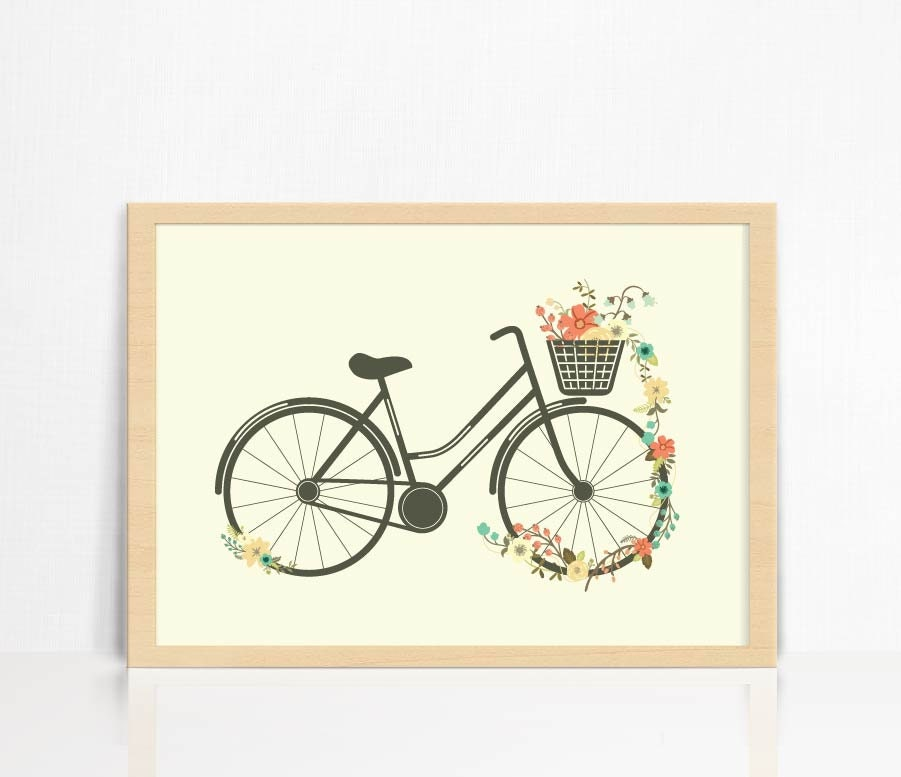 Vintage floral bicycle wall print home decor for Bicycle decorations home