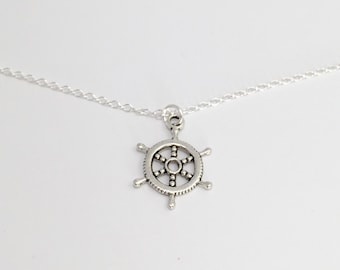 Silver Helm Necklace/Silver Helm Nautical Necklace/Silver Nautical Necklace/Silver Sailing Necklace