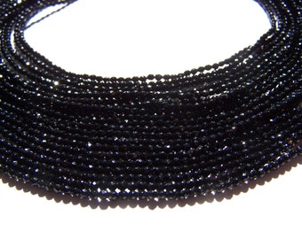 Black Onyx Faceted 2mm beads 15.5 inch strand
