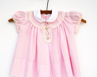 Baby Girl Dress, Pink Embroidered Baby Dress, 1960s, Baby Clothes, 18 Months Dress