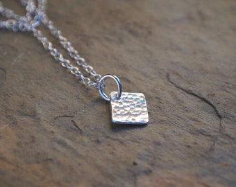 Silver necklace, square necklace, layering jewelry
