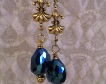 Cobalt Blue Pear Fleur Di Lis Dangles - E 200