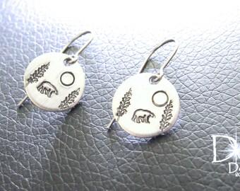 SALE Bear Earrings - Sterling Silver Earrings - Aluminum - Hand Stamped - Silver Disc Earrings - Bear Jewelry - Sterling Silver Jewelry