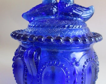Vintage Cobalt Glass Blue Lovebird Candy Dish Kettle Bowl Gypsy Pot Beaded Footed Lid - Bride Hostess Housewarming Collectible