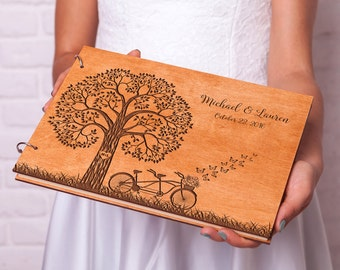 rustic wedding guest book wood guestbook tandem bike guest book custom engraved wedding guestbook ideas rustic