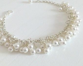 Bracelet vintage marriage - cluster of pearls Swarovski - Money(Silver) sterling 925