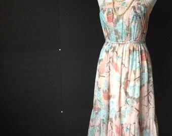 1970s Pastel Floral Prairie Dress Size M