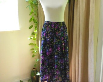 Vintage Sheer Floral Print Tea Length Skirt by Leslie Fay, Size 8, High Waisted Full Midi Skirt, Casual Skirt, Size M Cottage Chic Skirt