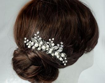 bridal hair comb, pearl hair comb, wedding hair comb, bridal hair piece, silver leaf vintage hair comb, bridal comb, wedding comb, leaf comb