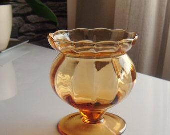 Vintage Handmade Blown Amber Color Glass Vase