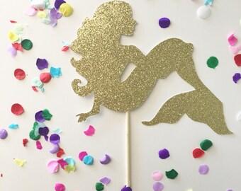 Glitter Mermaid Cake Topper, Mermaid Party, Glitter Mermaids, Luau, Pineapple Toppers, Under the sea, Mermaid Theme, Mermaid Party, Gold