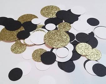 Black Gold and White Confetti, Graduation Confetti, Wedding Confetti, Black and Gold Party Decorations, Gold Confetti, Party Confetti,
