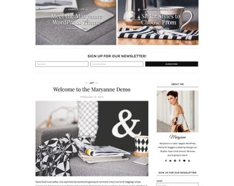 "WordPress Theme - Classic, Black and White, Clean - ""Maryanne"" for WordPress - Woocommerce - Customizable and Simple - Instant Download"