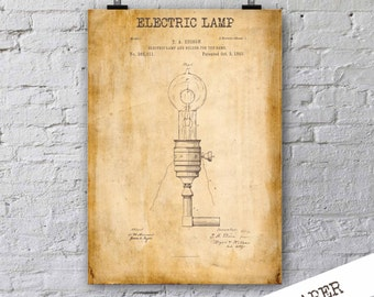 Electric Lamp Patent Print| Edison's Electric LampPatent Poster| Gift For Electrical Engineer| Lab Decor| Technology Art