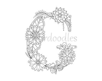 Adult Coloring Pages LOVE Floral Letters Alphabet By
