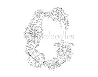 Adult Coloring Page Floral Letters Alphabet D Hand