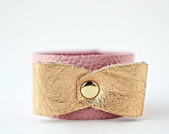Pink Girls Bracelet, Gold Leather Bow Bracelet, Bow Bracelet, Little Girls Jewelry, Girls Leather Bracelet, Gold Pink Bracelet, Toddler Gift
