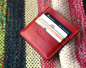 Red Leather Card Holder Card Holder Wallet Business Card Holder Credit Card Holder Card Holder Leather Card Holder Mens Card Holder Womens