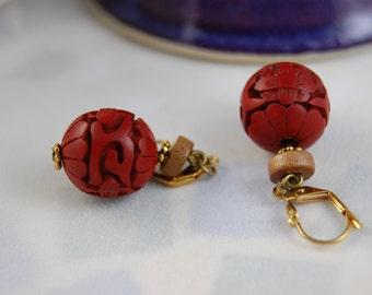 Red Earrings, Red Earings, Cinnabar Earrings, Red Carved Beads Earrings, Vintage Cinnabar Earrings, Chinese Carved Cinnabar Dangle Earrings