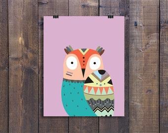 Tribal Owl - Nursery Wall Art, Printable Woodland Decor, Animal Play Room Art, Cute Kids Poster, Owl Nursery Art, Woodland Baby Boy Gift