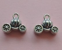 8 pc Pumpkin Carriage Charm- Cinderella Buggy Silver - CS2244