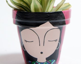 "Hand Painted Pot / Planter / ""Ofelia"" by Mavitos FREE SHIPPING"