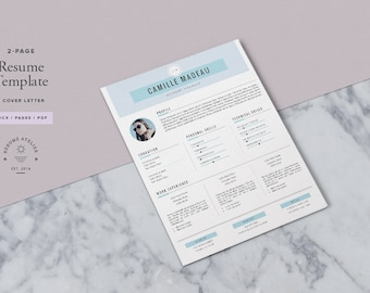 Resume Template 3page / CV Design + Cover Letter for MS Word & Pages / Instant Download