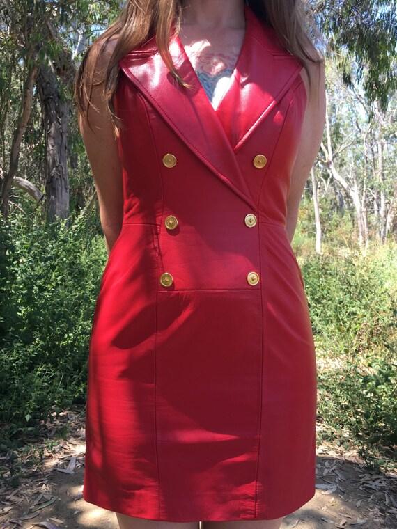 Vintage Women's Michael Hoban Sleeveless Red Leather Bodycon Tuxedo Dress Size M