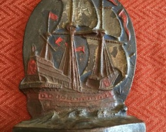 Cast Iron Nautical Maritime Sailing Ship Bookend By Albany Foundry Fdy Co