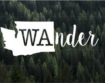Wander Washington State Vinyl Decal | MacBook Decal | Yeti Decal | Car Decal | Water Bottle Decal | Laptop Decal | Washington | PNW | Wander