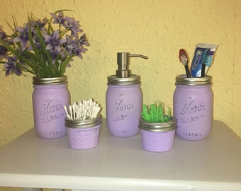 5 Pc Lavender Purple Mason Jar Bath Set