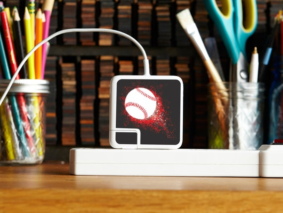 Multipack Charger Decals for iPhone, iPad & Apple Laptop Chargers - Baseball Design - Perfect Gift for Him, Tech Accessory for Baseball fan