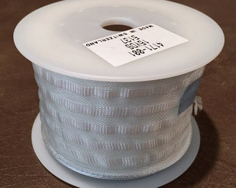 "ONE 15 Yd Roll 2-3/8"" White Wired-Edge Formal Satin Ribbon With Iridescent Center-Stripes * A Swiss Import From Rolf Gilly  Imports *Wedding"