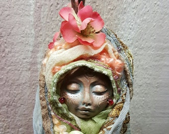Eostre, Spring Solstice Goddess, Cottage Kitchen Witch,  Assemblage Art doll Shabby Chic,  Decor OOAK