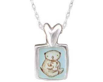 Otter Love Necklace - Silver and Enamel Sea Otter Pendant - Texting Otter Heart Necklace