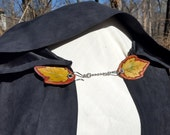 Cloak Clasp - Leather Leaf Screw or Pin Back Removable Clasp - Hand Tooled Leather