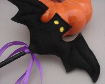 Black Bat Wand - Halloween Wand - Witch Wand - Witch Costume Accessory - Felt Wand