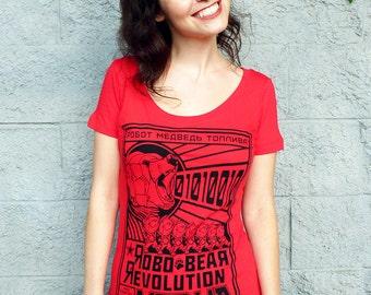 Vodka Bear Shirt - Robot Bear Tshirt, Women's Graphic Tee - Robo Bear Revolution Vodka Tshirt - Speculative Spirits