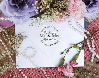 Wood Block Custom Return Address Stamp, Cute Stamp for Newly Weds, The Future Mr. & Mrs. Stamp, Wedding Gift --10205-WB17-000