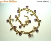"ON SALE Vintage SWAROVSKI Purple Crystal Bezel & Faux Pearl Necklace, Fancy Twisted Link, Gold Charms, 30"" Long, Exquisite!  #A759"
