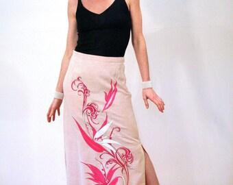 70s Shaheen Skirt, Hawaiian Maxi Skirt, Signature Print Floral Linen Skirt, Pink Maxi Skirt, Aloha Skirt Size M, Alfred Shaheen Vintage