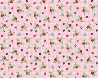 Vintage Market Riley Blake cotton fabric - Vintage Strawberries VM4566 Pink, select a length