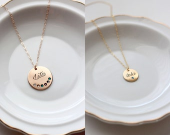 Birthstone Necklace - Engraved Keepsake Circle Disc Mother's Neckalce Custom Personalized Mother's Gift Wedding Initial Birthstone Date