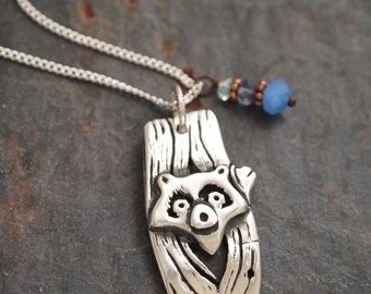 Raccoon Necklace,Aquamarine, Iolite and Quratz