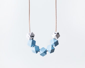 Geometric Necklace /  Light Blue Necklace / Wooden necklace